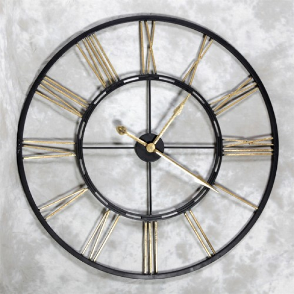 clock the large black and gold skeleton wall clock has roman numerals ...