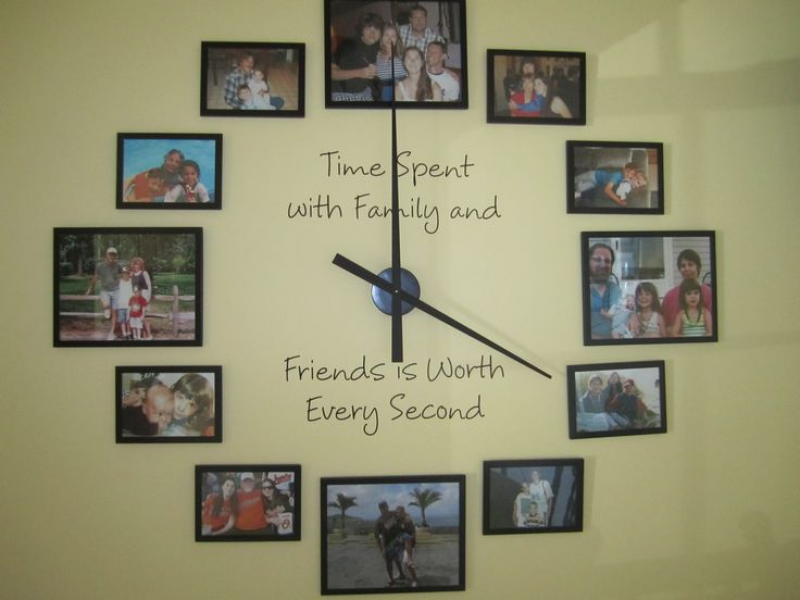 "Great wall clock with photos and quote ""Time spent with Family and ..."