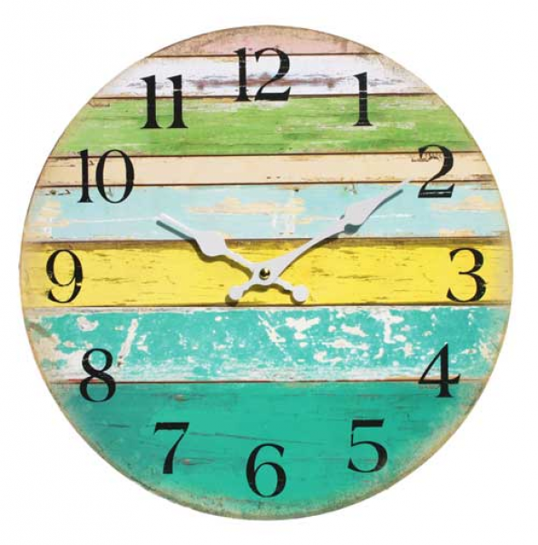 ... Beach & Surf :: Wall Clock - Coloured Boards Coastal Decor Large