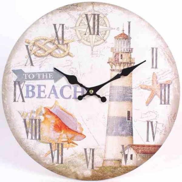 Large Lighthouse Beach Wall Clock Kitchen Retro Shabby Chic French De ...