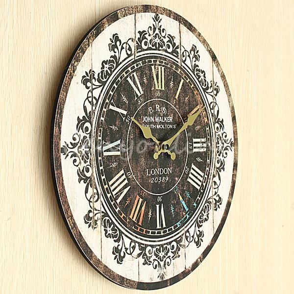 Large Wall Clock Tracery Vintage Rustic Shabby Chic Home Office Cafe ...