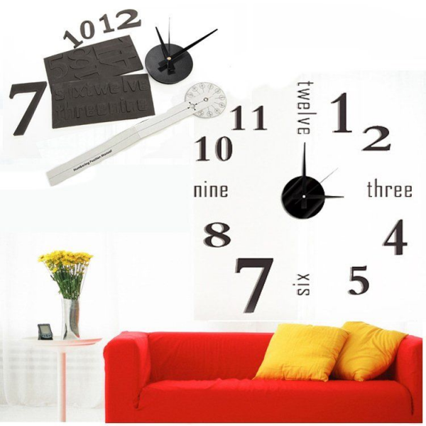 ... Large Wall Clock Mirror Surface Sticker Home Office Room Decor | eBay