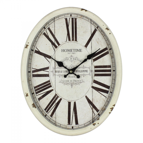 Large Cream Metal Wall Clock - Traditional Kitchen Wall Clock
