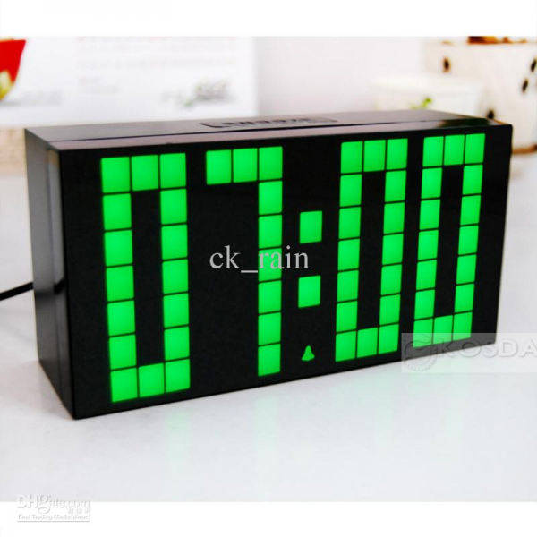 Large Jumbo LED Clock Display Wall Digital Green Lighter Timer Weather ...
