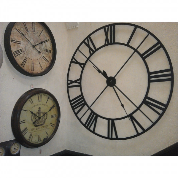 Very Large Wrought Iron Wall Clock - Black On Wall