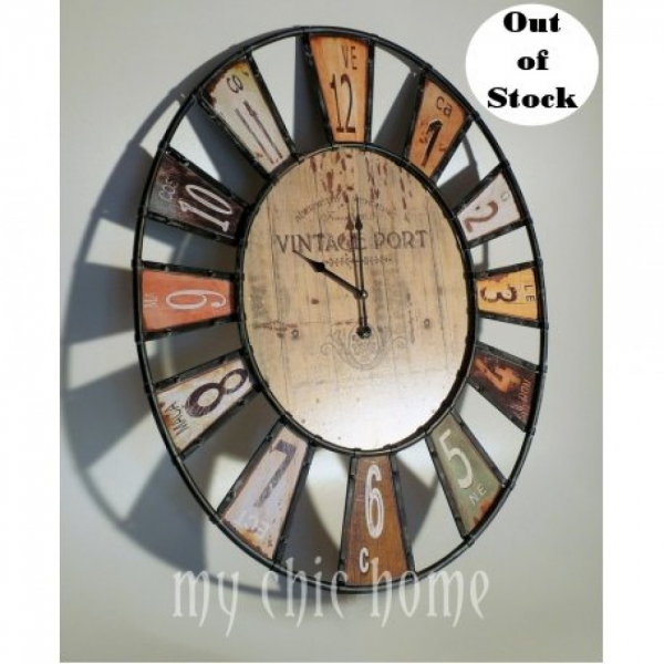 Large Oval Metal Wall Clock | Retro | Colourful | Wine Theme