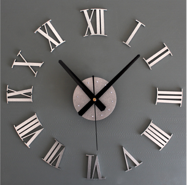 metal texture Roman numeral clock creative wall stickers clock diy ...