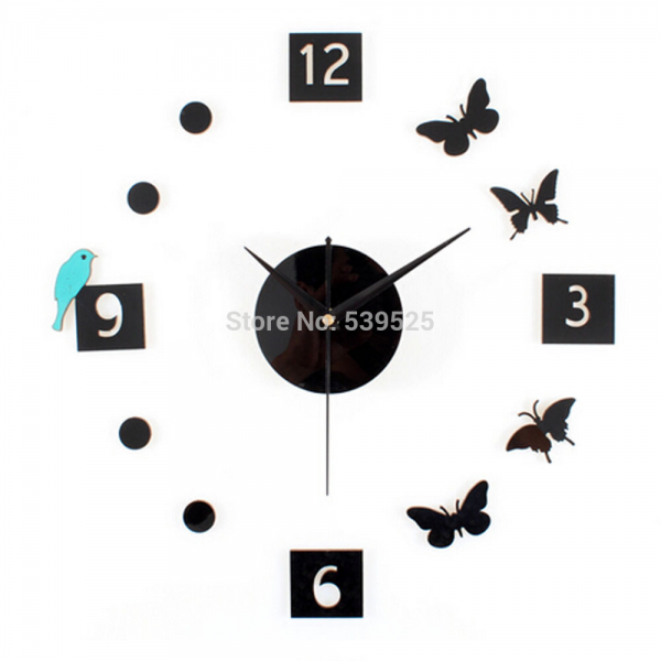 Silent 3D DIY Bird Butterfly Wall Sticker Clock Large Decorative Wall ...