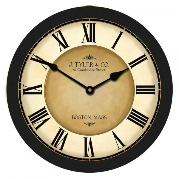 Large Wall Clock Galway Black Clock 12 48 Whisper Quiet Non Ticking ...