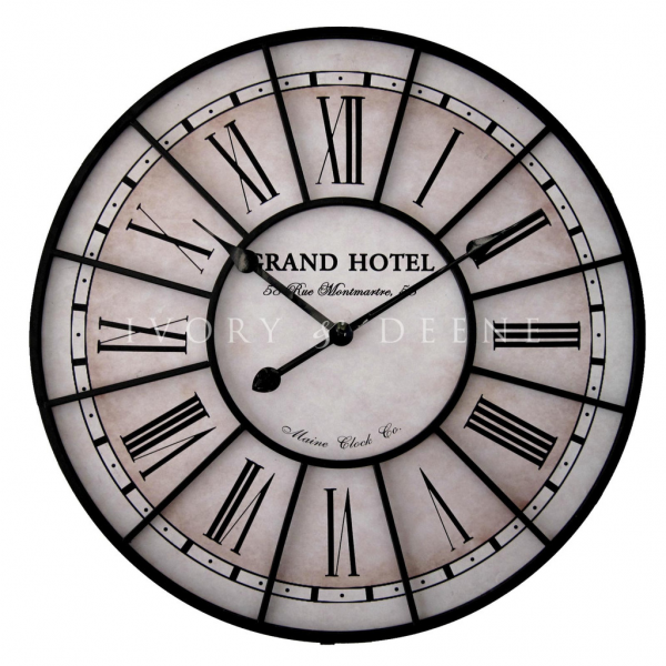 Large 60cm Metal Wall Clock Grand Hotel Paris France Vintage ...