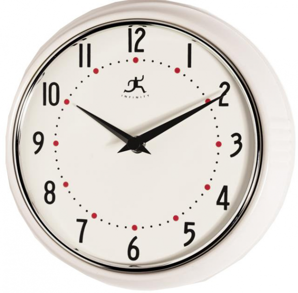 Retro Round Metal Wall Clock (White)