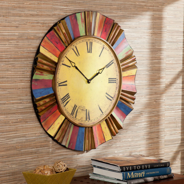 Distressed Colorful Wall Clock at Brookstone—Buy Now!