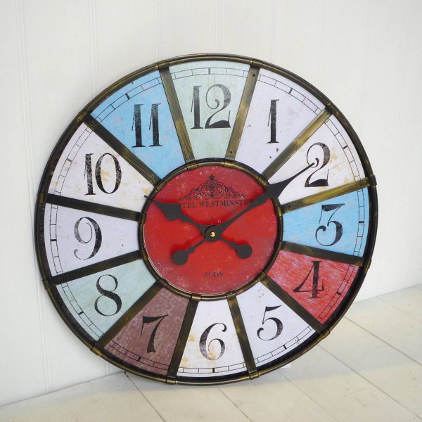 Multi Coloured Wall Clock | Large Paris Clock | Large Clocks