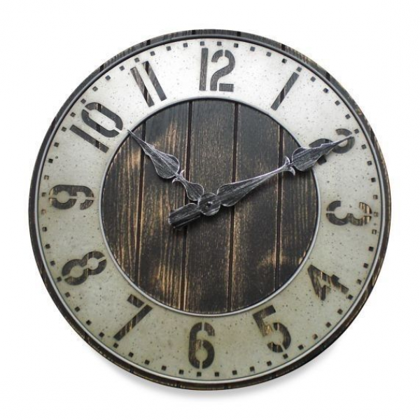 New Large Rustic Punched Metal Wall Clock Wood Home Decor Old Fashion ...