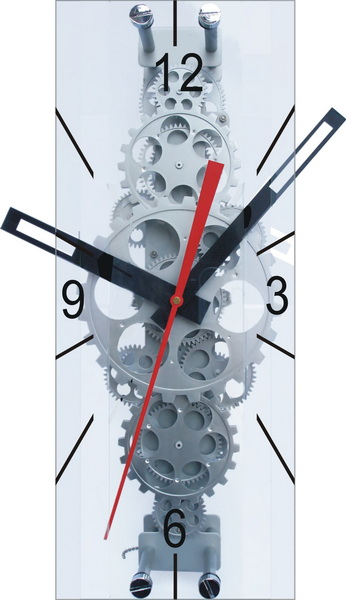 Large Moving-Gear Wall Clock with Glass Cover - Gear Clock