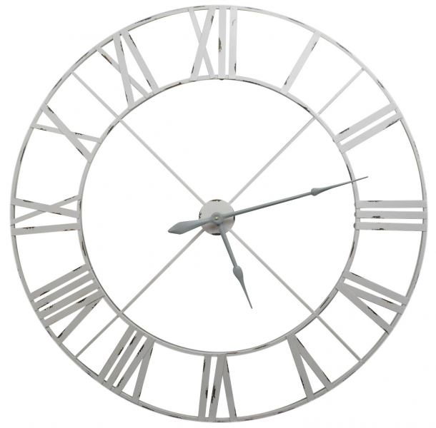 ... Large Distressed Pale Grey Contemporary Skeleton Metal Wall Clock