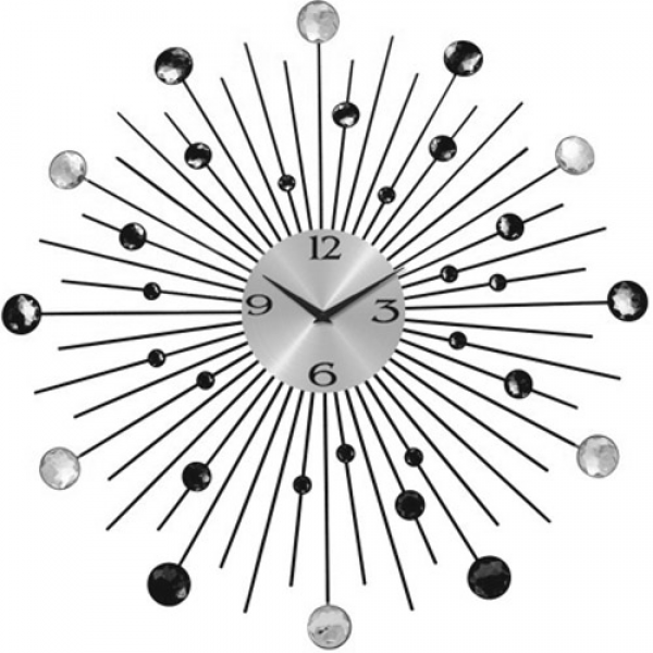 Details about X-LARGE DIAMANTE WALL CLOCK SUNBURST CRYSTAL JEWELED ...