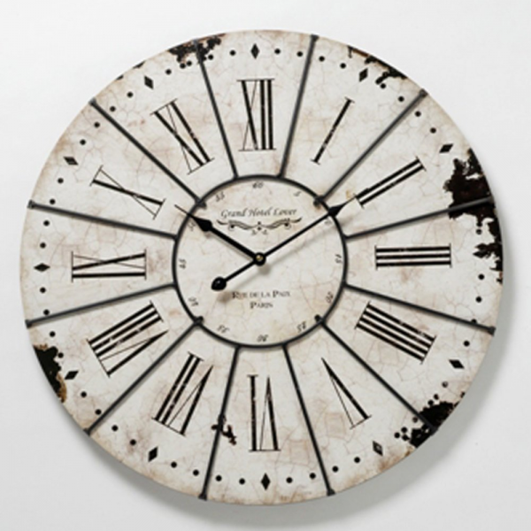 Large Antiqued White Wall Clock - from Curiosity Interiors UK