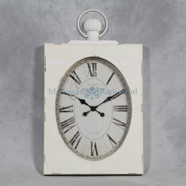 Large Antiqued White Square Clock with Oval Glazed Face - Wall Clocks ...