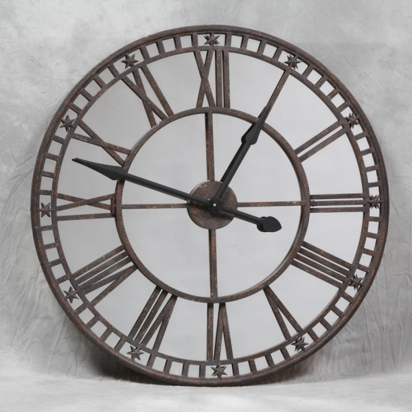 Antique Iron Wall Clock with Mirrored Clock Face