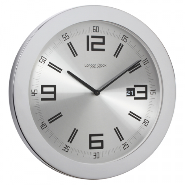 Contemporary stainless steel wall clock 40cm