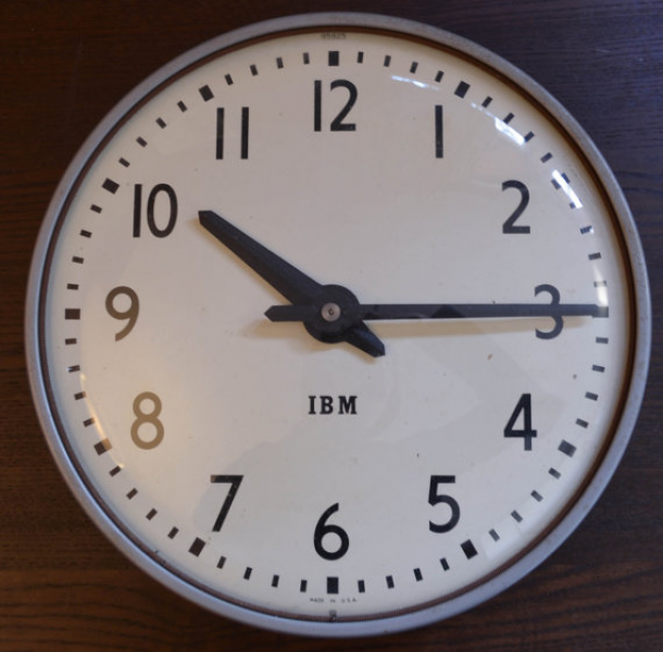 Vintage large IBM wall clock, schoolhouse, warehouse, factory style ...