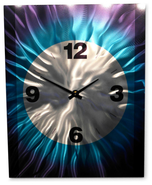 Art Wall Art Decor Abstract Contemporary Modern- Large Blue Clock ...
