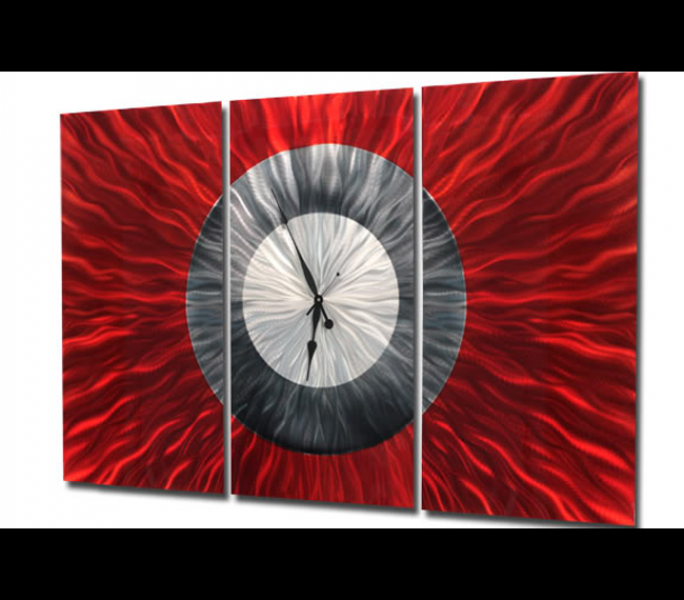 Big Red - Large Modern Abstract Painted Metal Wall Clock Original Art ...