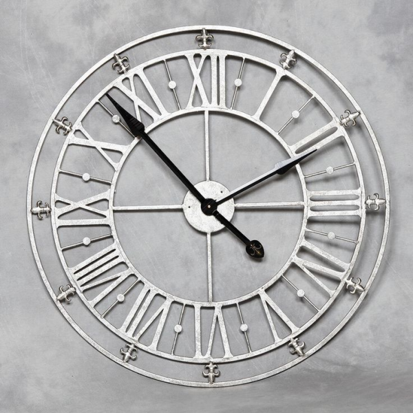 Large round roman numerals silver metal iron wall clock/distressed/sh ...