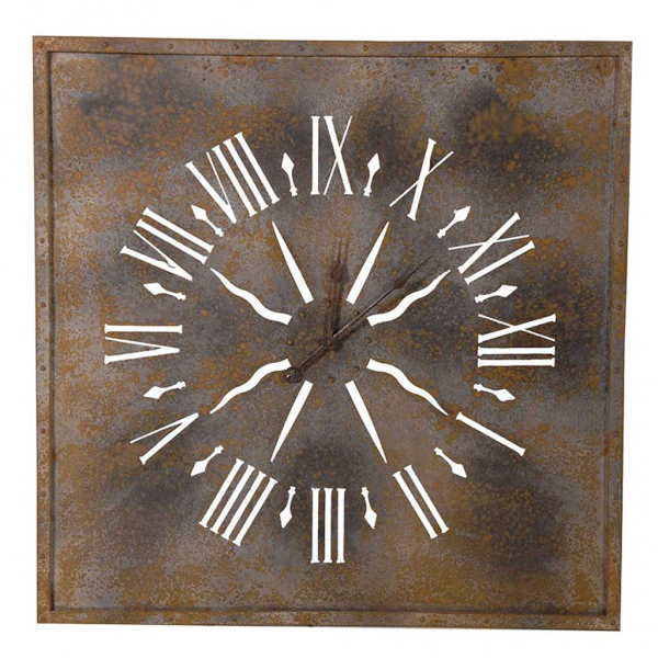 Home / Clocks / Large distressed metal square wall clock