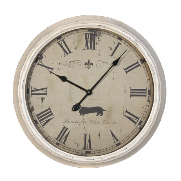Large White Metal Wall Clock - No1 Online Shabby Chic Furniture Store