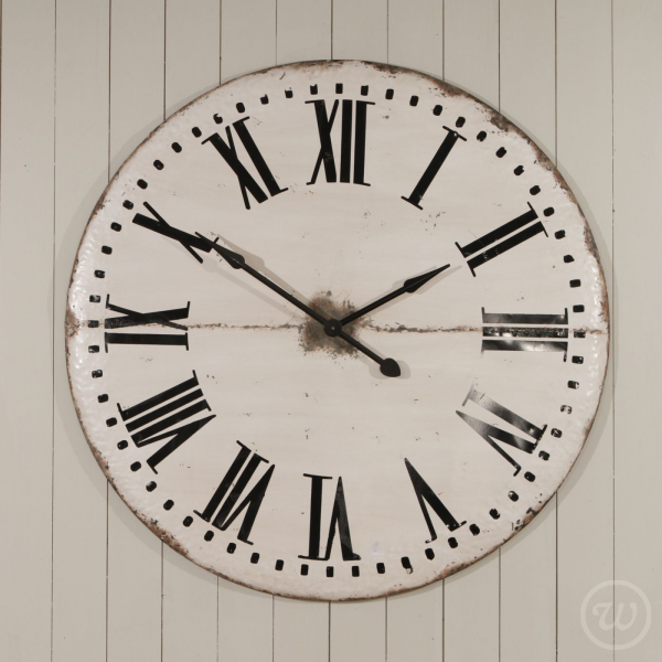 Gigantic Distressed Metal Wall Clock