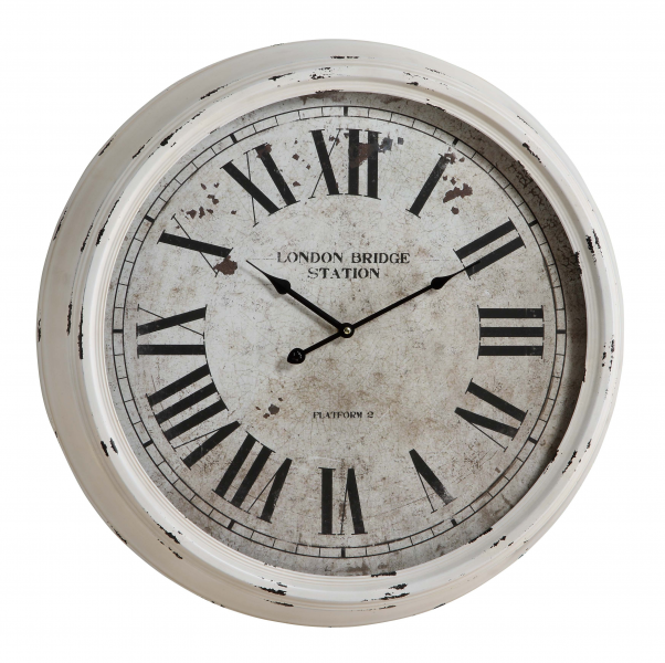 Daria Wall Clock Distressed White Finish; Under Glass - Large 24 ...
