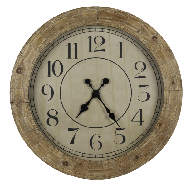 ... Wall Clock Distressed Wood Finish; Under Glass - Large 31.5
