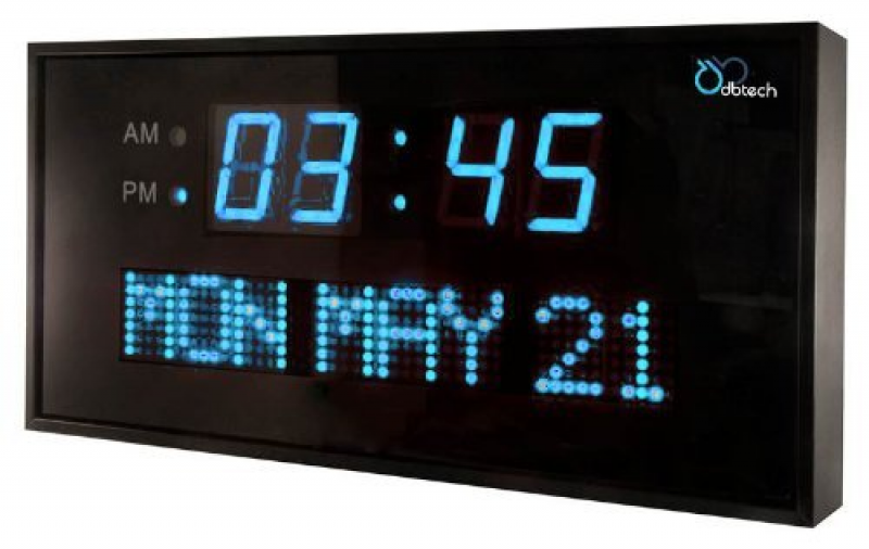 Big Digital LED Calendar Clock with Day and Date - Shelf or Wall