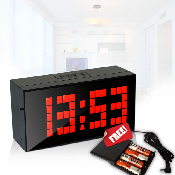 Digital Large Red LED Wall Desk Alarm Clocks Red Light Snooze Desktop ...