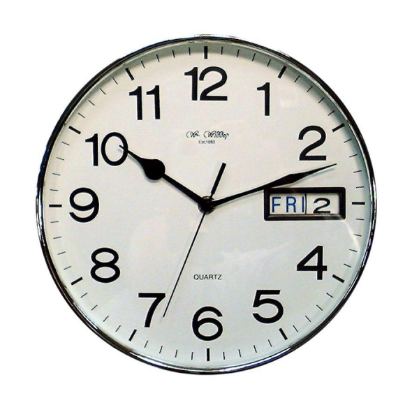 Office Wall Clock 10 with White Face and Chrome Rim by Widdow Bingham ...