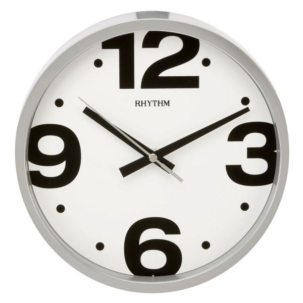 Rhythm Plastic Silent Sweep Wall Clock Round Silver Dial Large Numbers