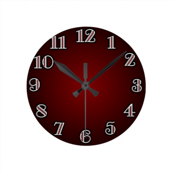 Large Numbers/ Red Wall Clocks | Zazzle