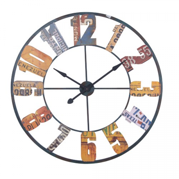 American Number Plate Style Multicoloured Wall Clock