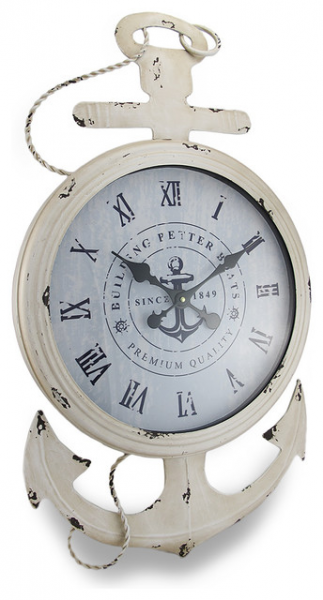 ... White Finish Nautical Anchor Large Metal Wall Clock traditional-clocks