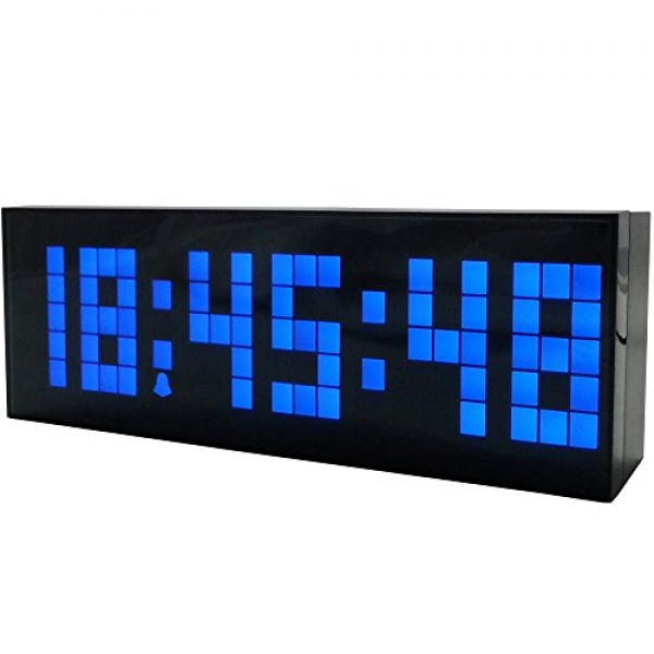 Tocas Large Big Number LED Snooze Wall Desk Alarm Clock Thermometer ...