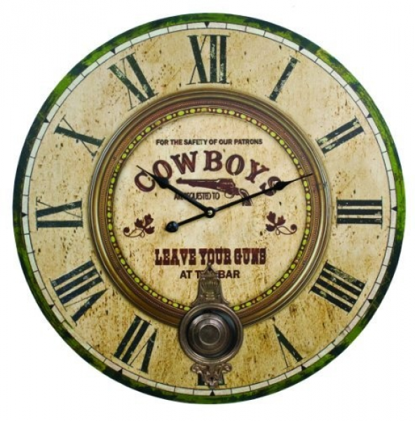 Large Cowboys Western Bar Wall Clock | wild wild west | Pinterest