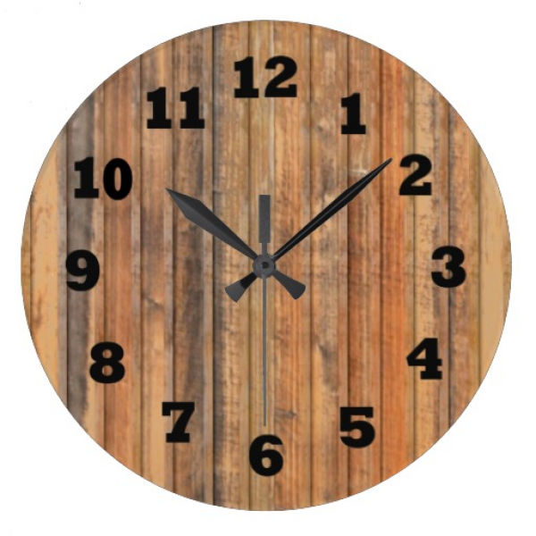 Western Distressed Wooden Wall Wall Clock | Zazzle