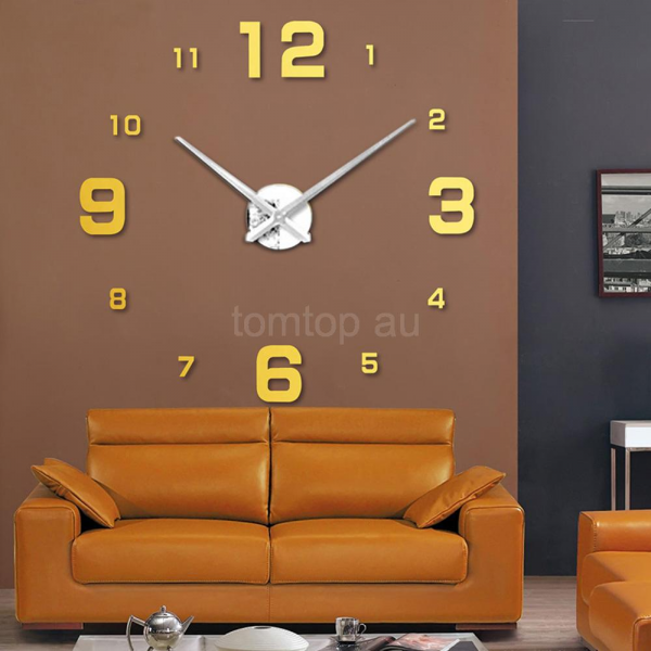 3D Luxury Digits Wall Clock Large Mirrors Surface Home Decoration Art ...