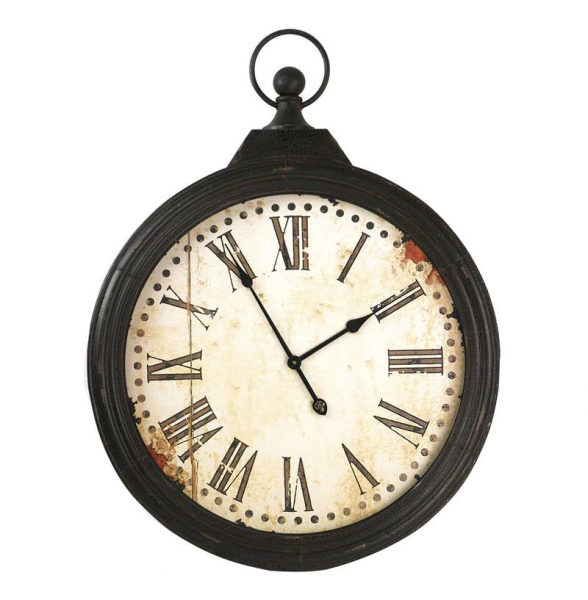Rustic Iron Large 'Pocket Watch' Wall Clock