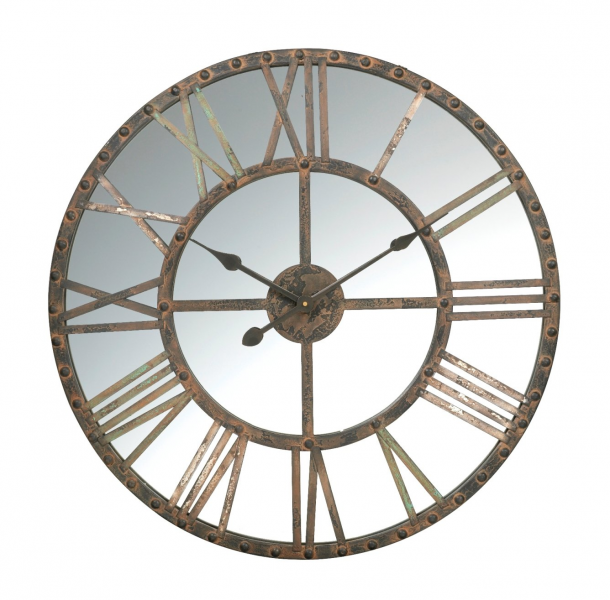 Large Rustic Mirrored Wall Clock