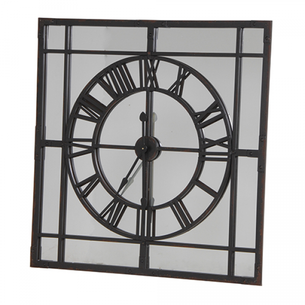 ... large iron mirrored wall clock our square mirrored wall clock will add