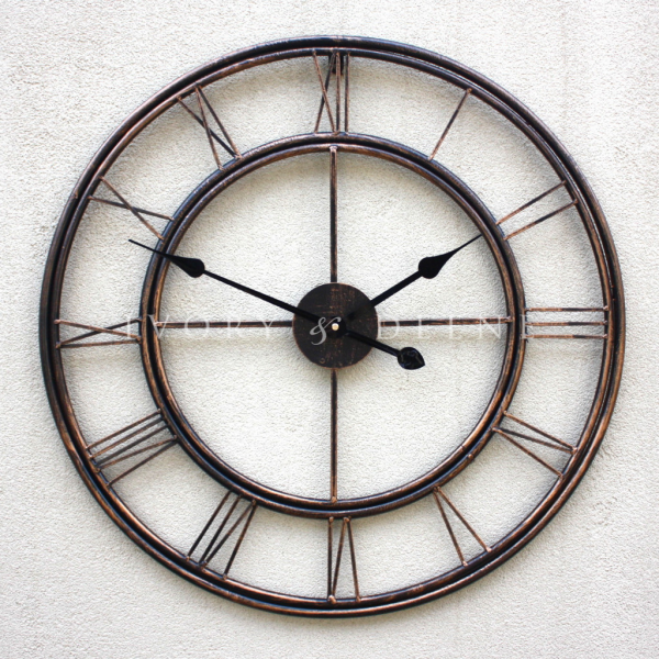 LARGE Metal Wrought Iron WALL CLOCK French Provincial Roman Numerals ...