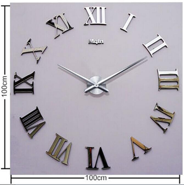 ... Wall-Clock-Roman-Numerals-Large-Size-Mirrors-Surface-Luxury-Art-Clock